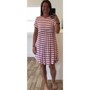Red and White Stripe Drop Waist Swing Dress